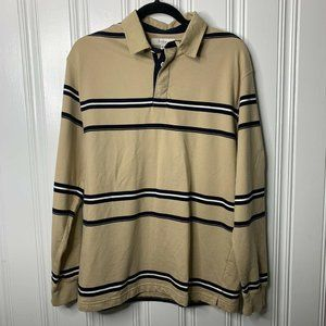 Turnbury Beige Navy Blue Striped Long Sleeves Polo